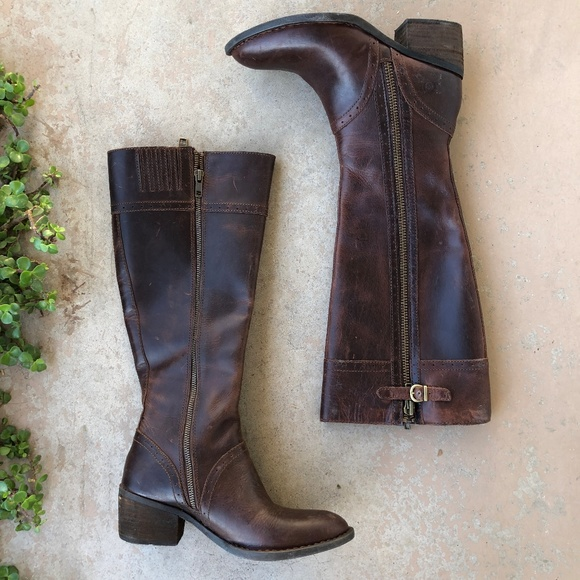 0efb3297c Born Shoes | Tall Dark Brown Distressed Poly Riding Boots | Poshmark